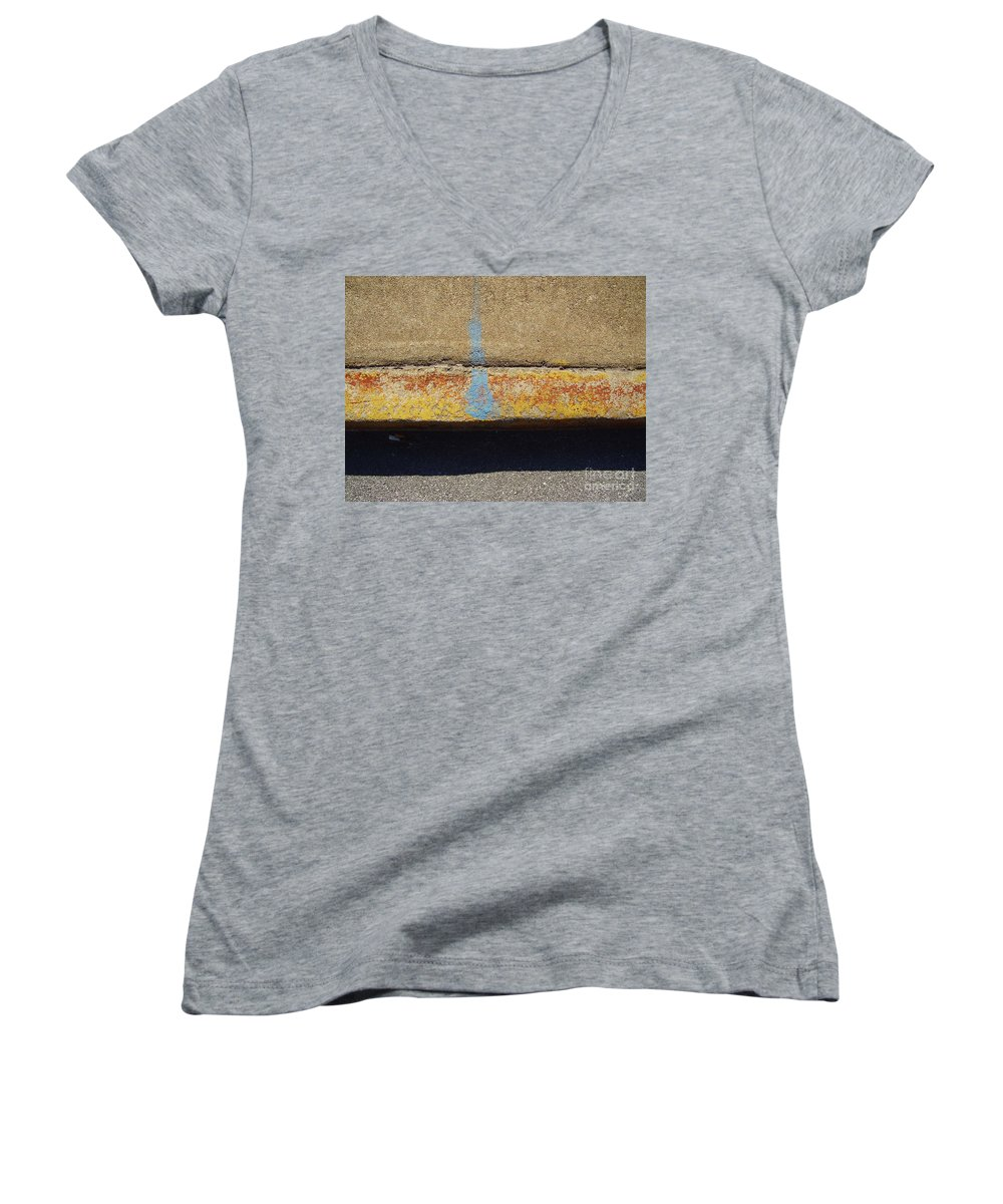 Abstract Women's V-Neck T-Shirt featuring the photograph Curb by Flavia Westerwelle