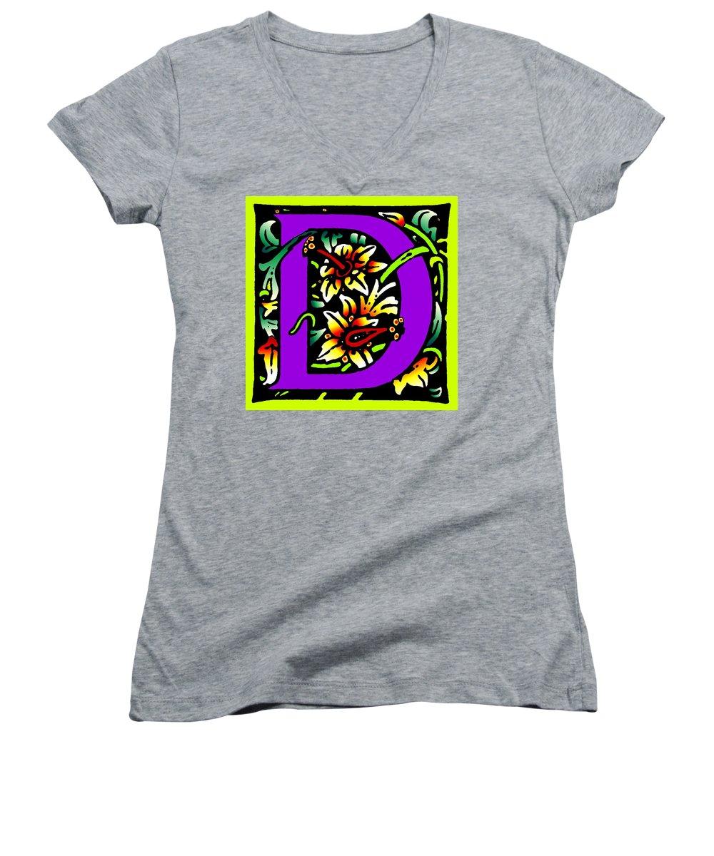 Alphabet Women's V-Neck T-Shirt featuring the digital art D In Purple by Kathleen Sepulveda