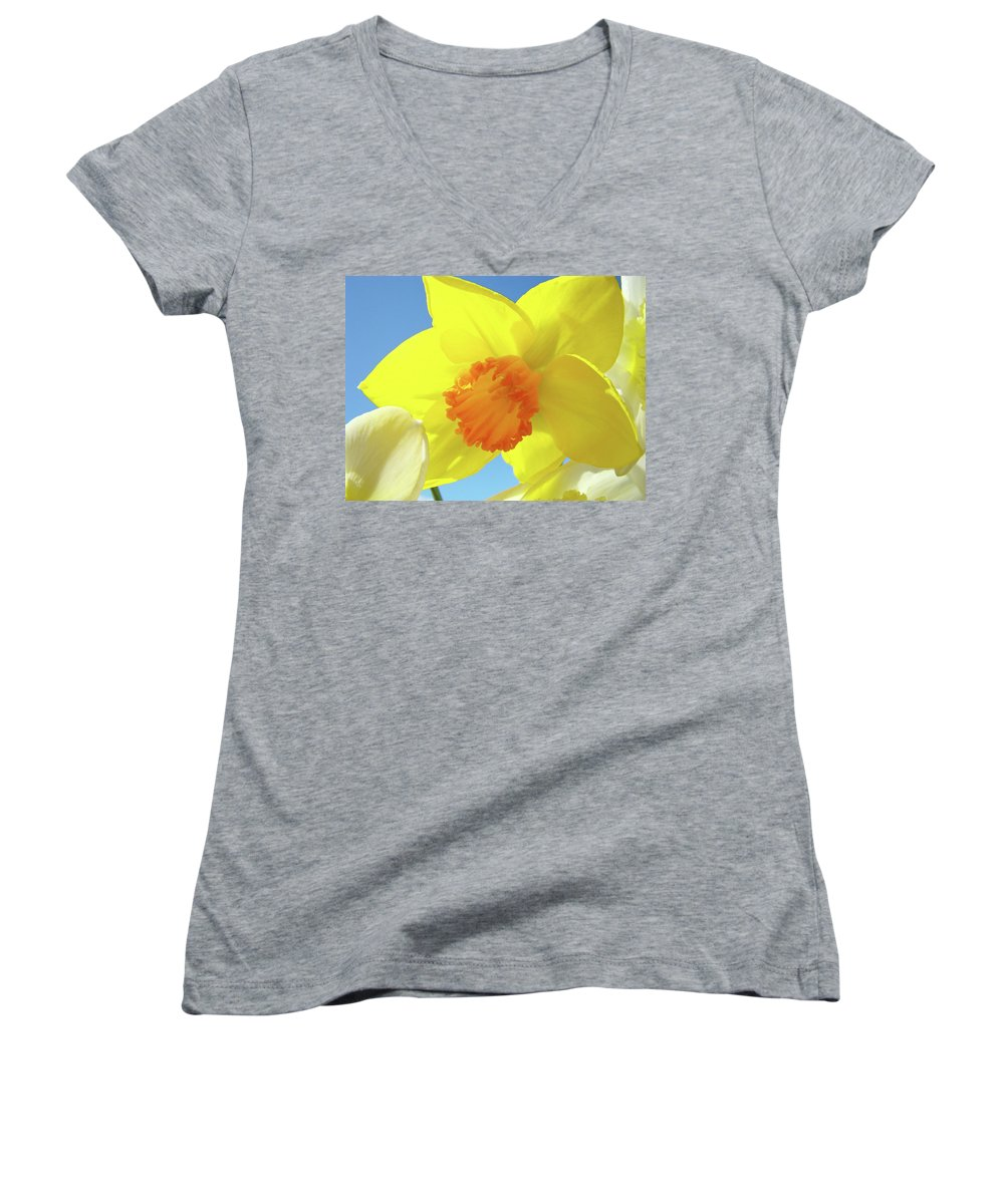 �daffodils Artwork� Women's V-Neck (Athletic Fit) featuring the photograph Daffodil Flowers Artwork 18 Spring Daffodils Art Prints Floral Artwork by Baslee Troutman