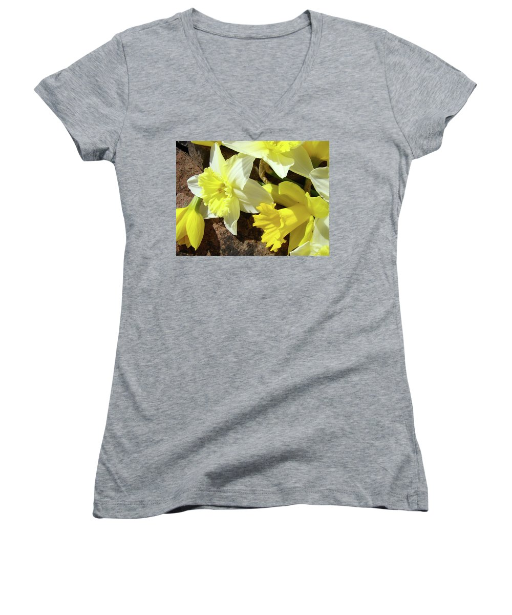 �daffodils Artwork� Women's V-Neck T-Shirt featuring the photograph Daffodils Flower Bouquet Rustic Rock Art Daffodil Flowers Artwork Spring Floral Art by Baslee Troutman
