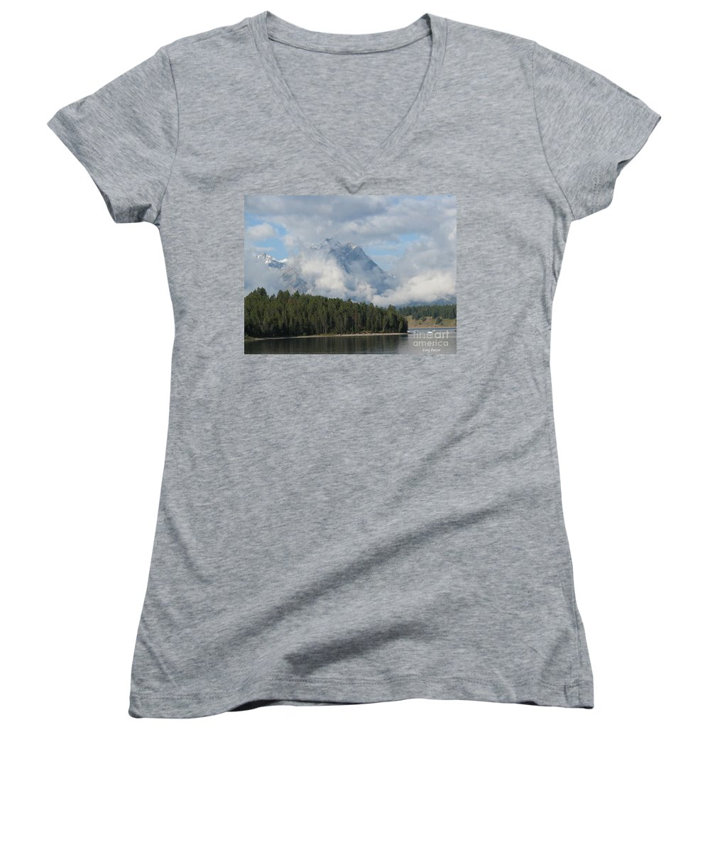 Patzer Women's V-Neck (Athletic Fit) featuring the photograph Dam Clouds by Greg Patzer