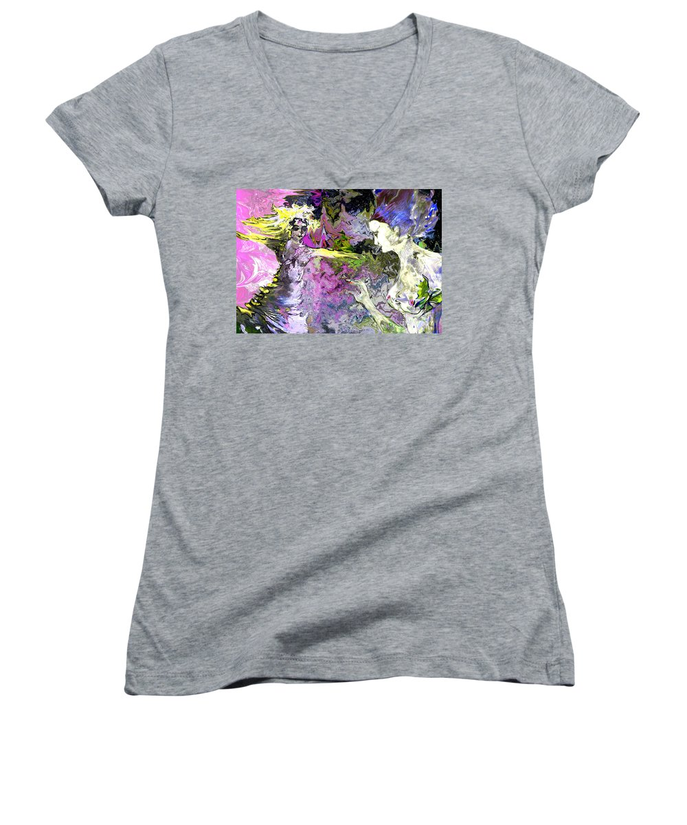 Miki Women's V-Neck T-Shirt featuring the painting Dance In Violet by Miki De Goodaboom
