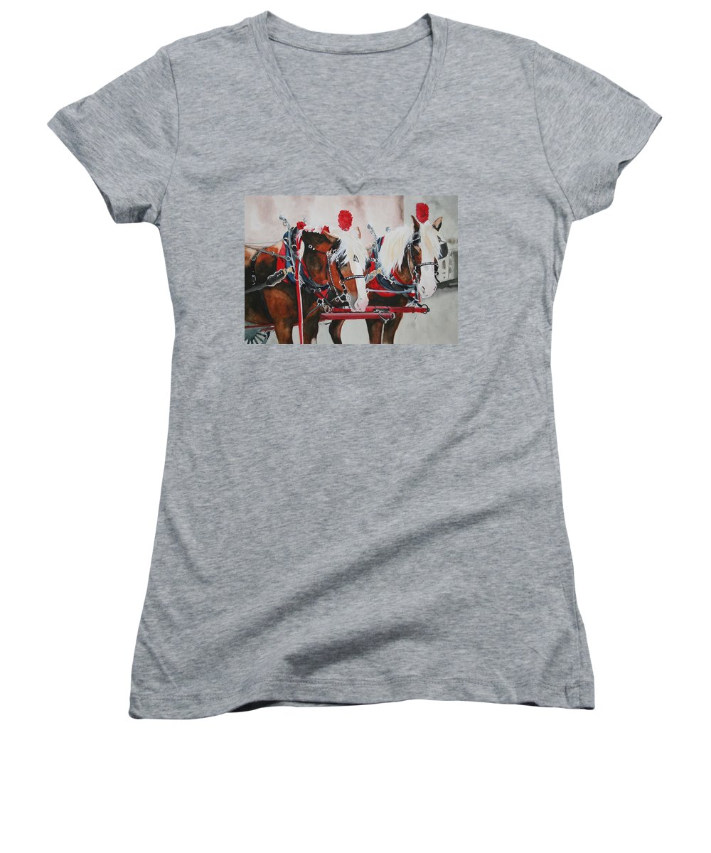 Horse Women's V-Neck T-Shirt featuring the painting Dandy Duo by Jean Blackmer