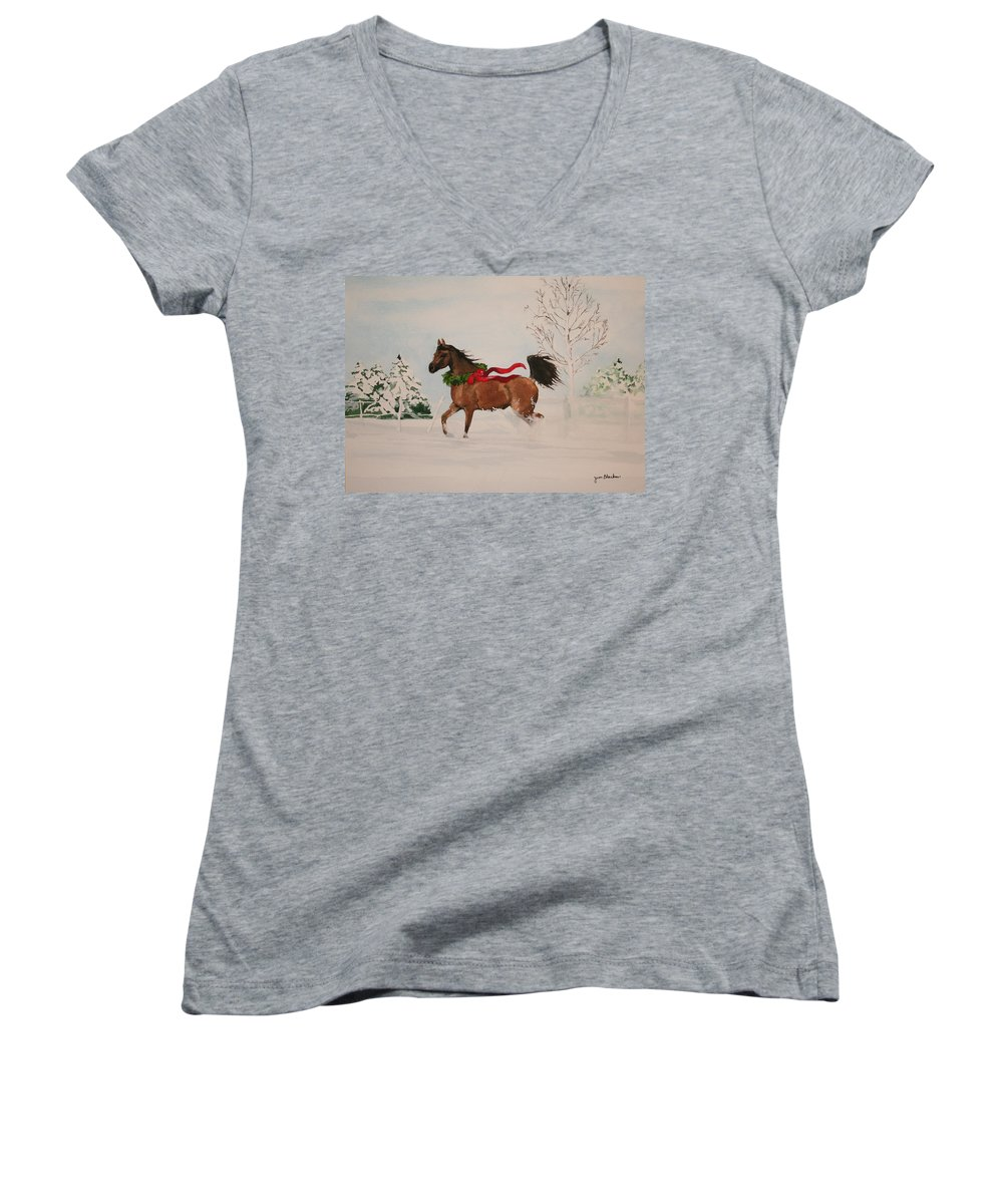 Horse Women's V-Neck (Athletic Fit) featuring the painting Dashing Thru The Snow by Jean Blackmer