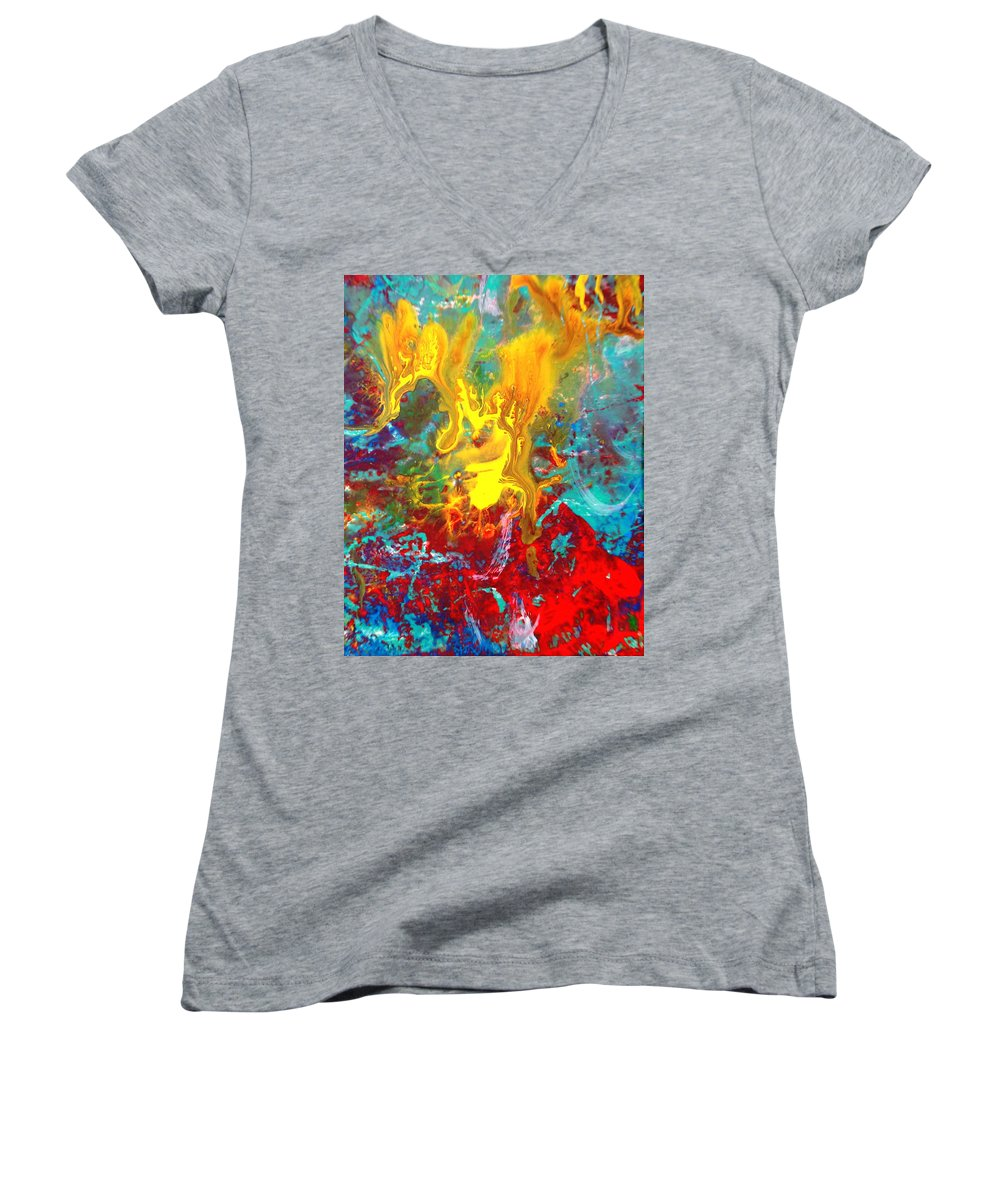 Abstract Women's V-Neck T-Shirt featuring the painting Dawn Of The Universe by Natalie Holland