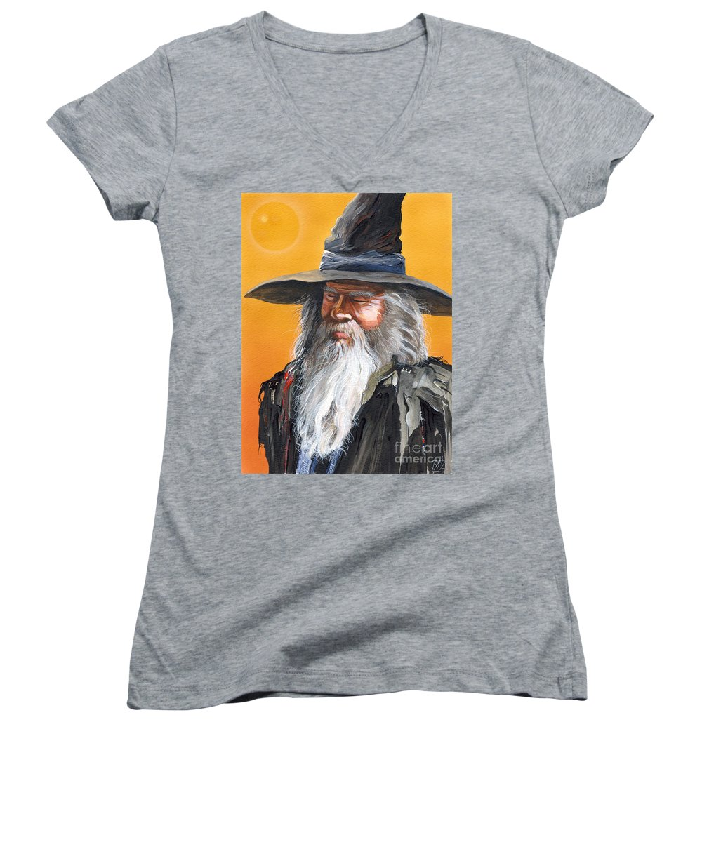 Fantasy Art Women's V-Neck (Athletic Fit) featuring the painting Daydream Wizard by J W Baker