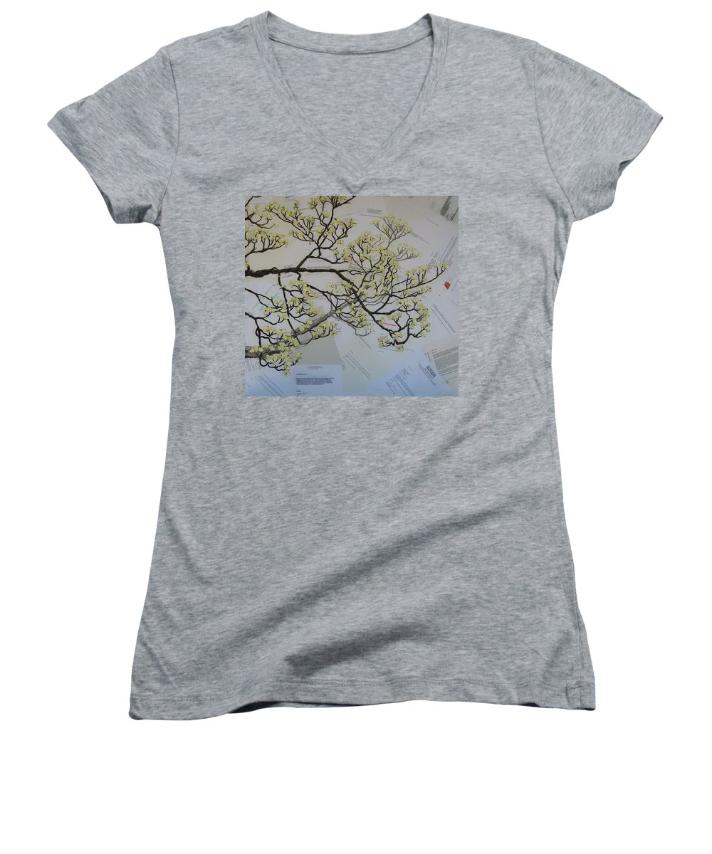 Collage Women's V-Neck T-Shirt featuring the painting Dear Artist by Leah Tomaino