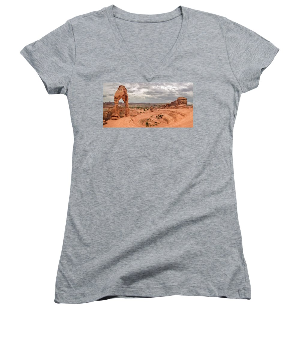 3scape Women's V-Neck T-Shirt featuring the photograph Delicate Arch Panoramic by Adam Romanowicz