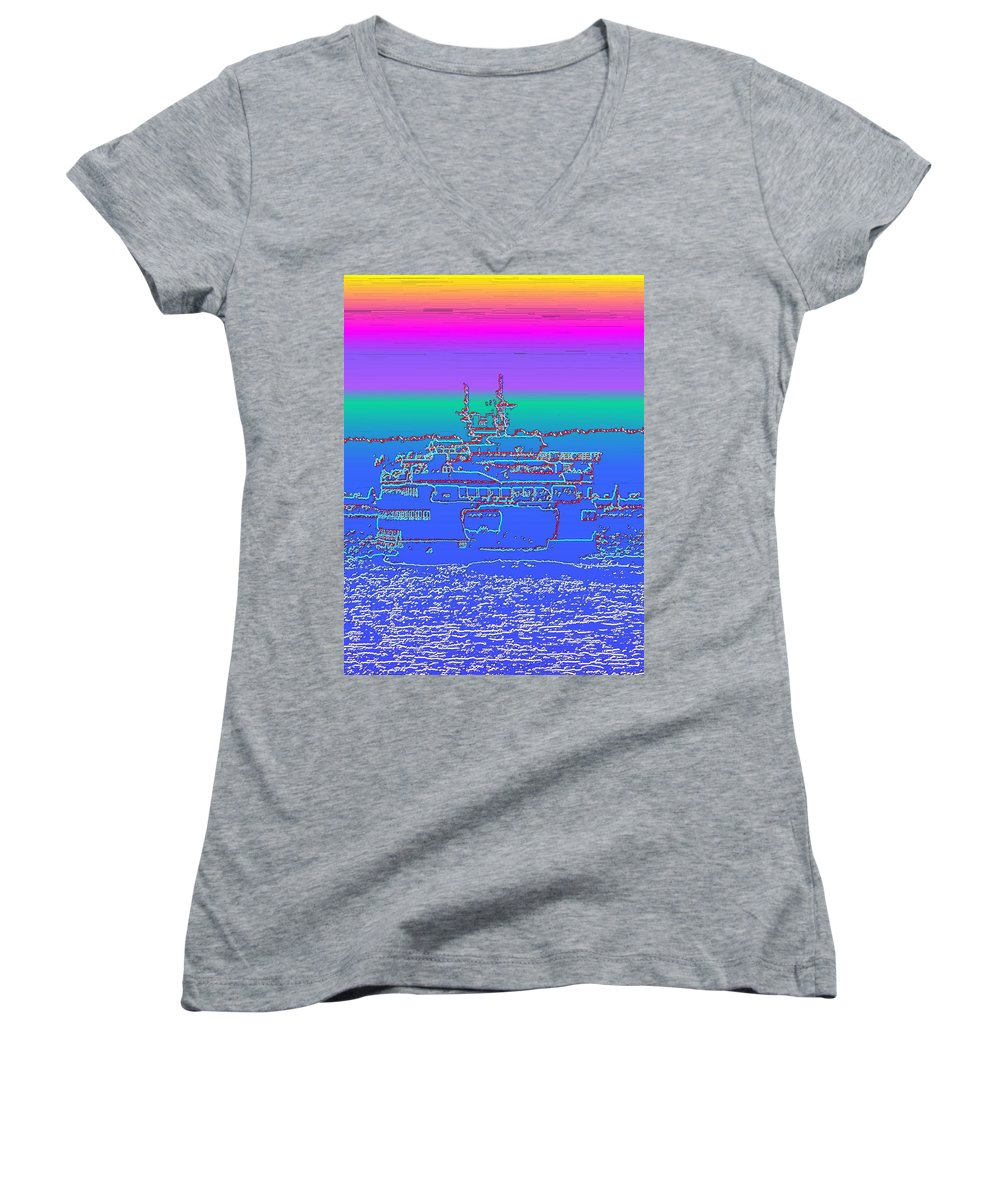 Digital Photo Manipulation Women's V-Neck T-Shirt featuring the photograph Departing Ferry by Tim Allen