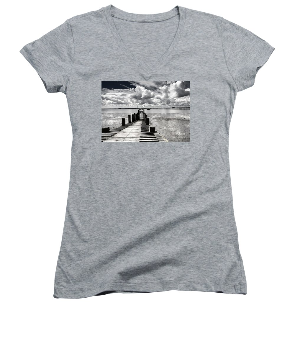 Wharf Southend Essex England Beach Sky Women's V-Neck T-Shirt featuring the photograph Derelict Wharf by Avalon Fine Art Photography