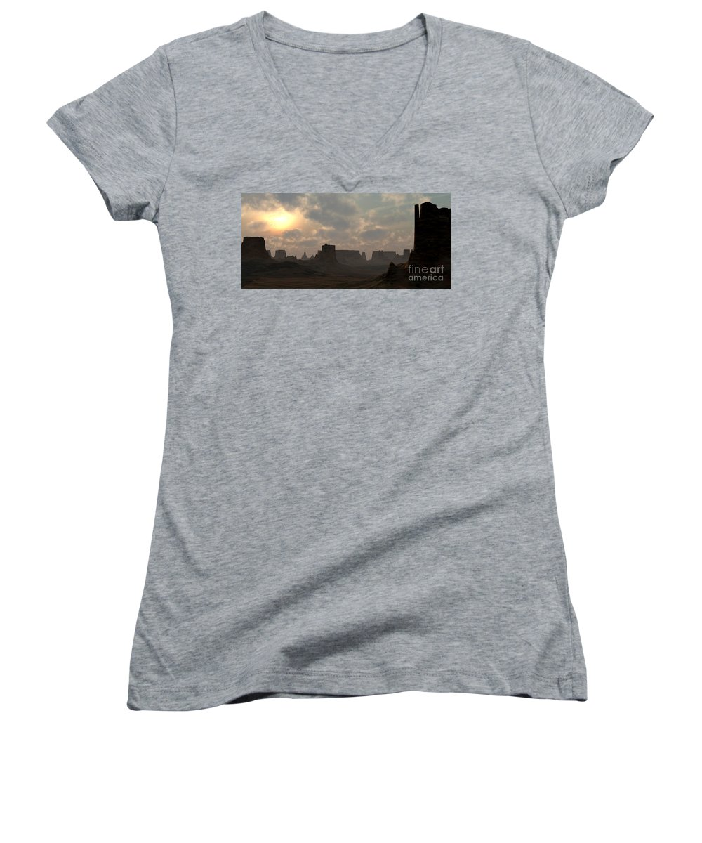Desert Women's V-Neck (Athletic Fit) featuring the digital art Desert Morning by Richard Rizzo