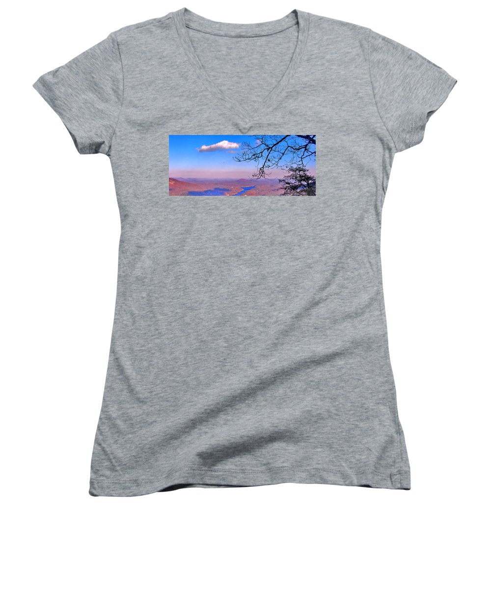 Landscape Women's V-Neck (Athletic Fit) featuring the photograph Detail From Reaching For A Cloud by Steve Karol