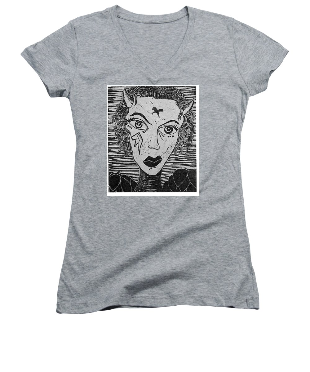 Prints Women's V-Neck T-Shirt featuring the print Devil Print Two Out Of Five by Thomas Valentine