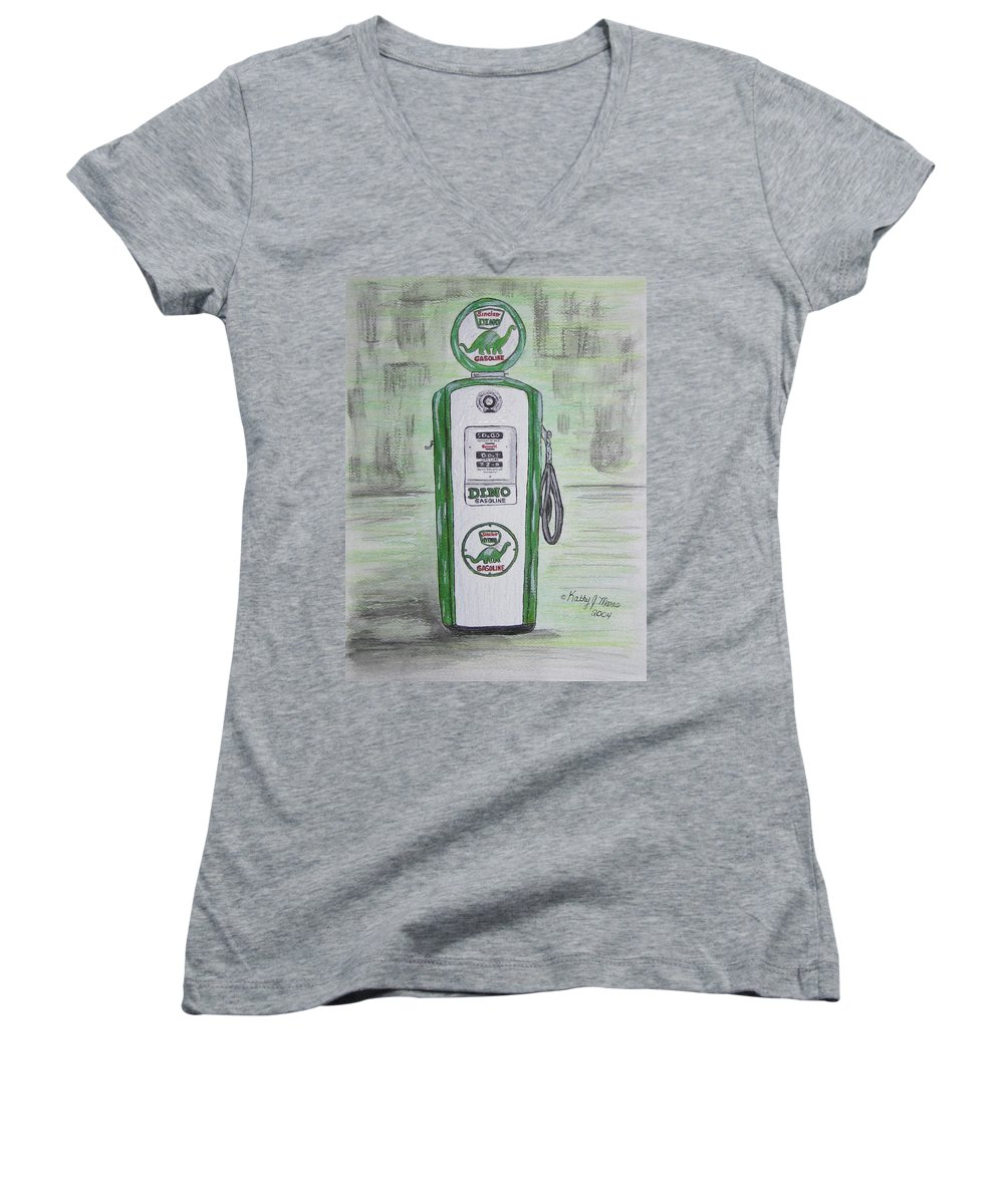 Dino Women's V-Neck T-Shirt featuring the painting Dino Sinclair Gas Pump by Kathy Marrs Chandler
