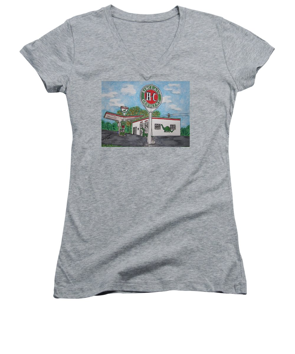 Dino Women's V-Neck (Athletic Fit) featuring the painting Dino Sinclair Gas Station by Kathy Marrs Chandler