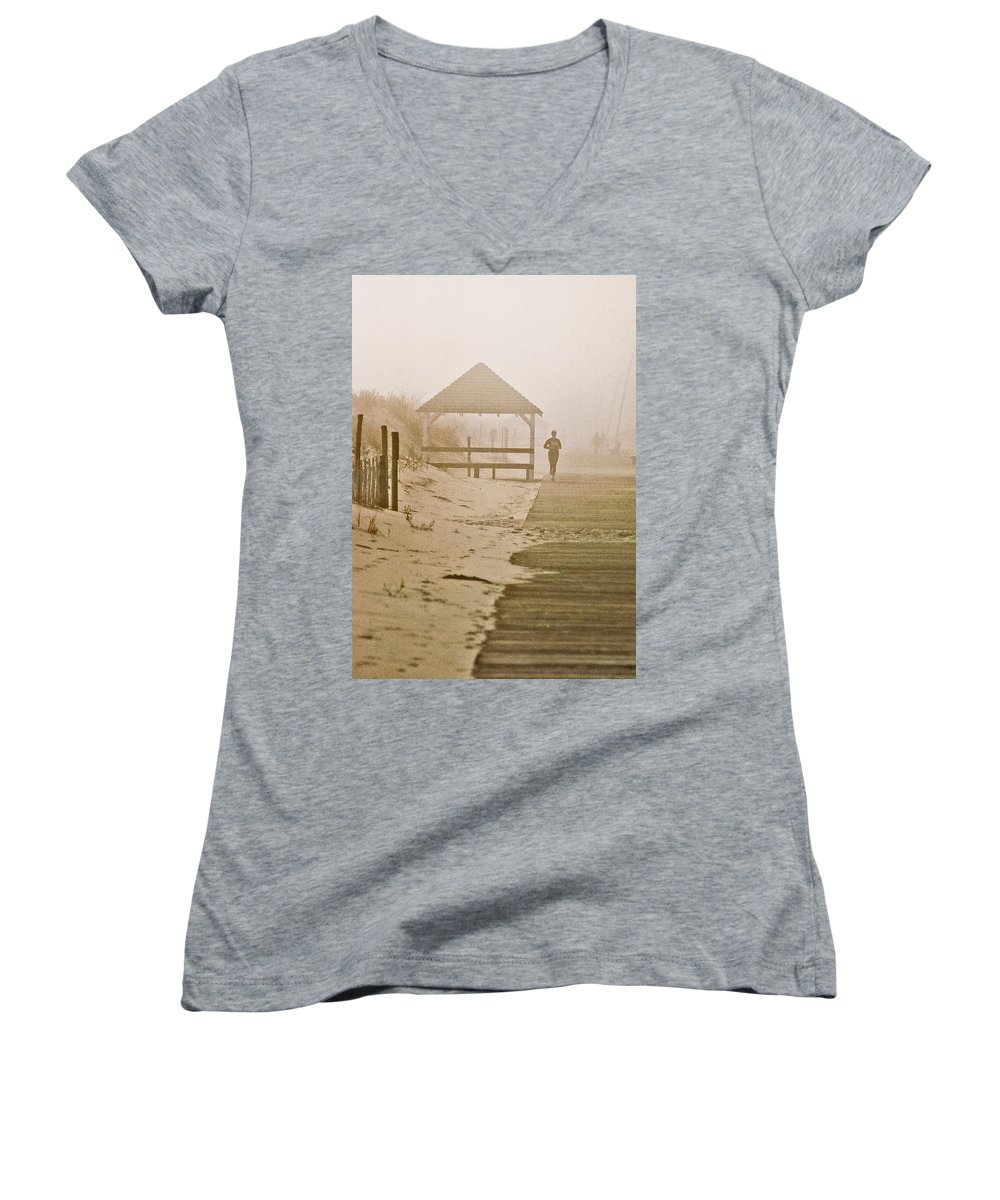 Landscape Women's V-Neck T-Shirt featuring the photograph Disappearance by Steve Karol