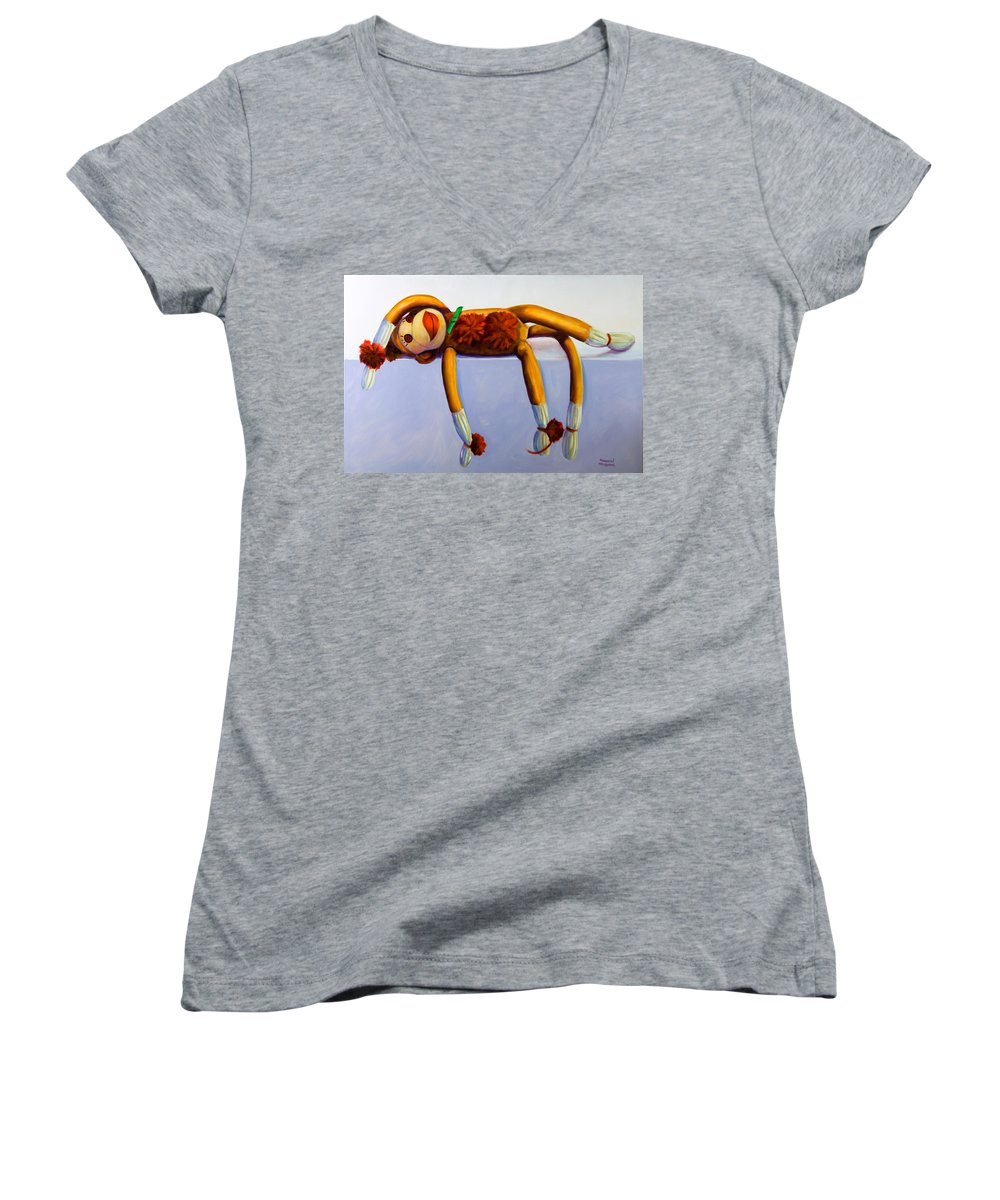 Diva Women's V-Neck (Athletic Fit) featuring the painting Diva Made Of Sockies by Shannon Grissom