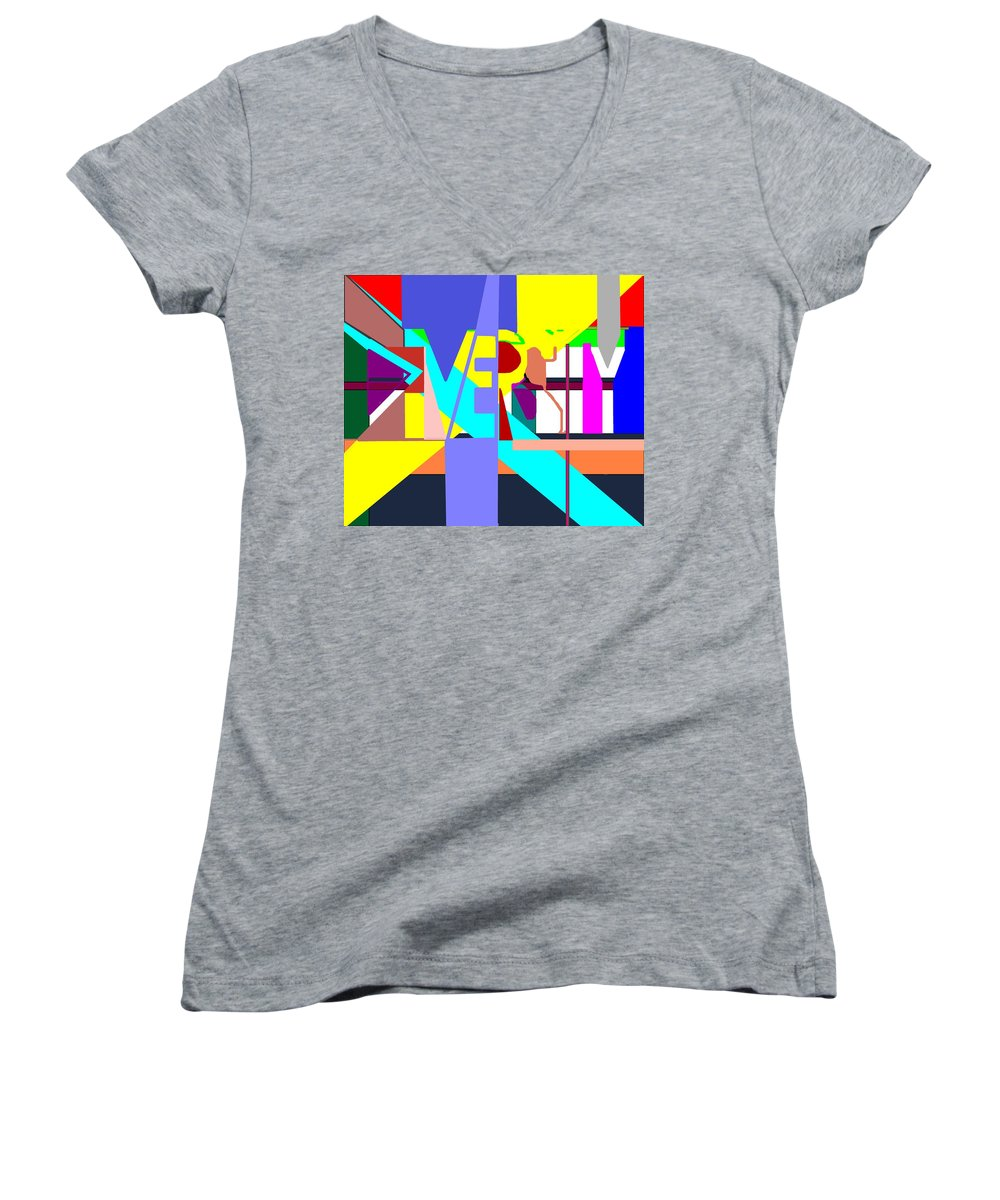 Diversity Women's V-Neck (Athletic Fit) featuring the digital art Diversity Enmeshed by Pharris Art