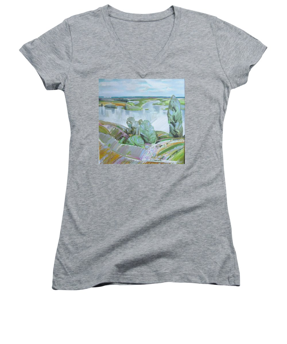 Landscape Women's V-Neck (Athletic Fit) featuring the painting Dnepro River by Sergey Ignatenko
