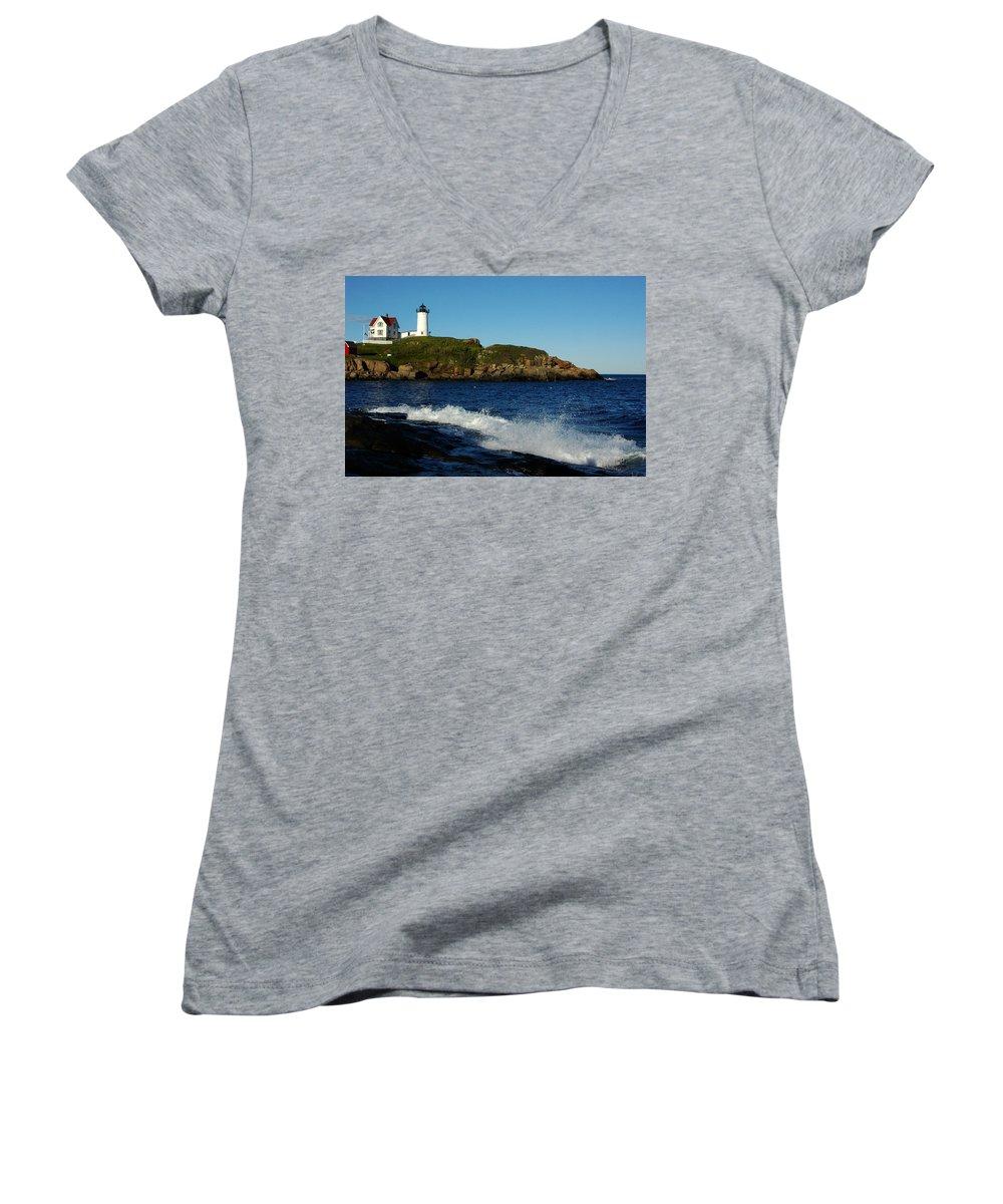 Landscape Lighthouse Nautical New England Cape Neddick Nubble Light Women's V-Neck (Athletic Fit) featuring the photograph Dnre0608 by Henry Butz