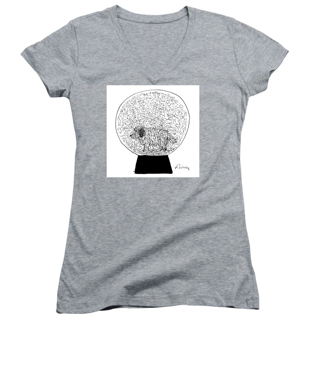 Shaggy Women's V-Neck featuring the drawing Dog Globe by Mike Twohy