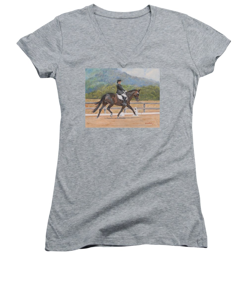 Horse Women's V-Neck (Athletic Fit) featuring the painting Donnerlittchen by Quwatha Valentine