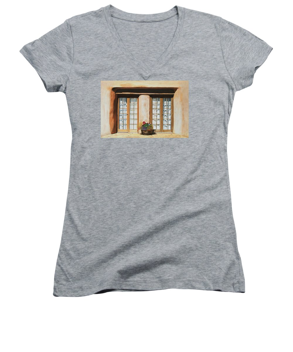 Usa Women's V-Neck T-Shirt featuring the painting Doors Of Santa Fe by Mary Rogers