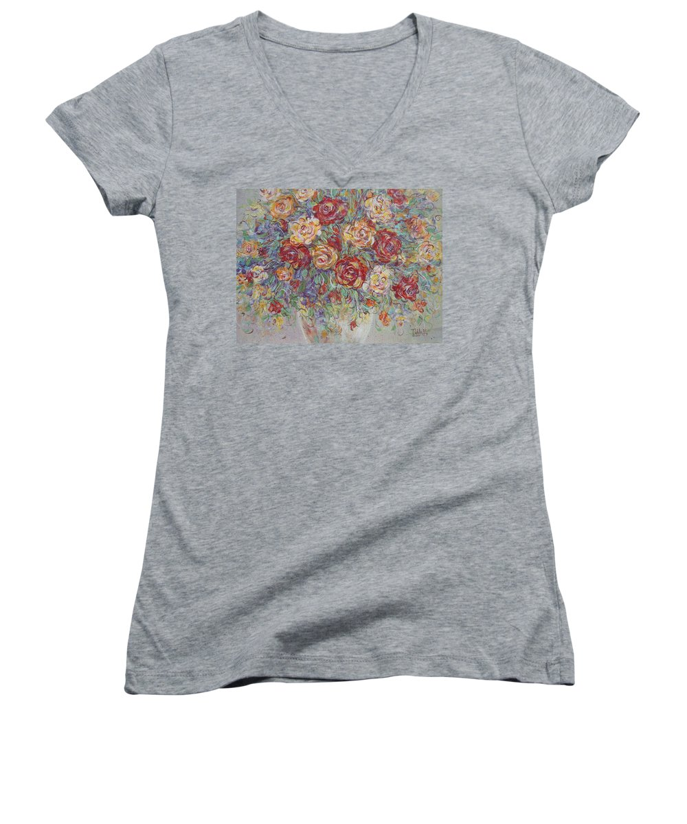 Flowers Women's V-Neck T-Shirt featuring the painting Double Delight. by Natalie Holland