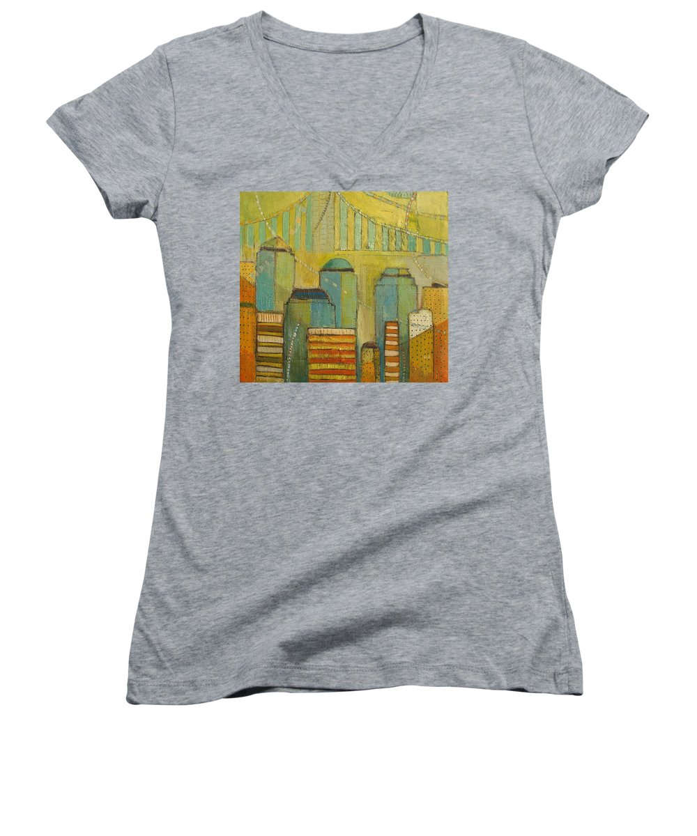 Women's V-Neck (Athletic Fit) featuring the painting Downtown Manhattan by Habib Ayat