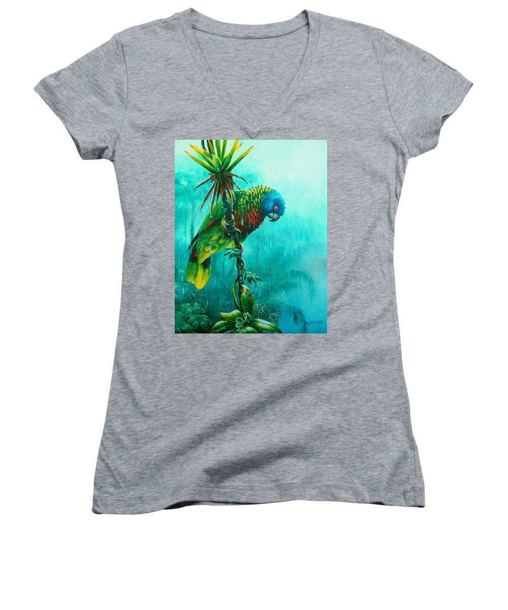 Chris Cox Women's V-Neck (Athletic Fit) featuring the painting Drenched - St. Lucia Parrot by Christopher Cox
