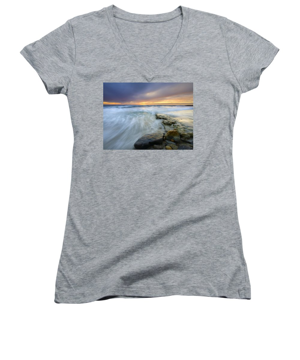 Rocks Women's V-Neck T-Shirt featuring the photograph Driven Before The Storm by Mike Dawson