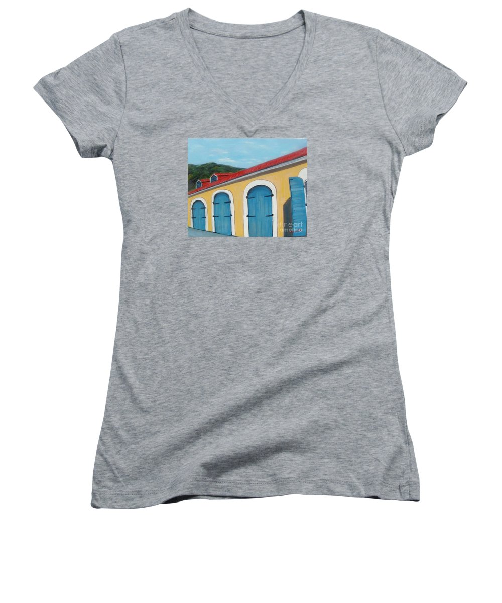 Doors Women's V-Neck (Athletic Fit) featuring the painting Dutch Doors Of St. Thomas by Laurie Morgan