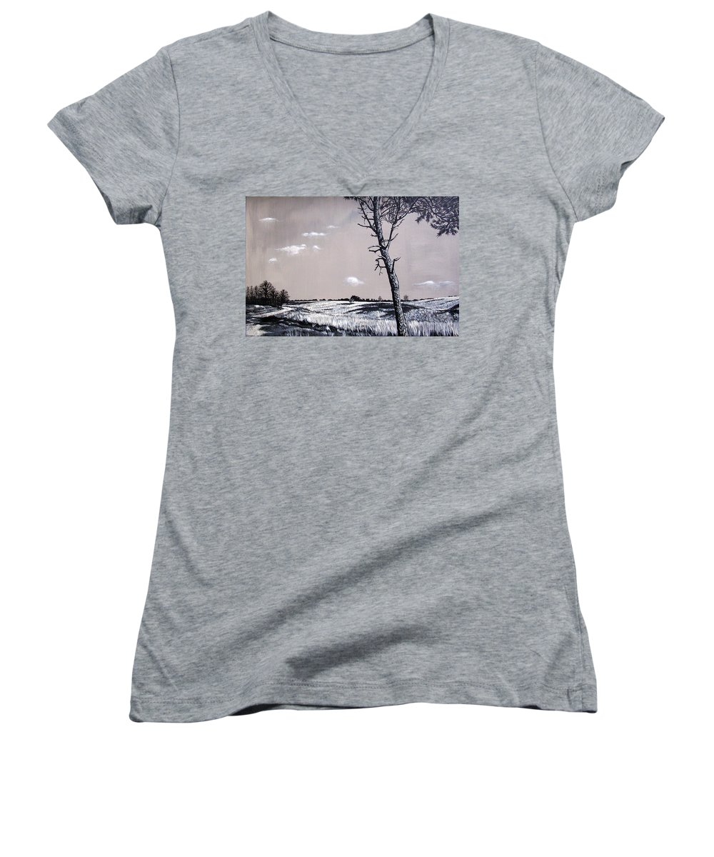 Duotone Women's V-Neck (Athletic Fit) featuring the painting Dutch Heathland by Arie Van der Wijst