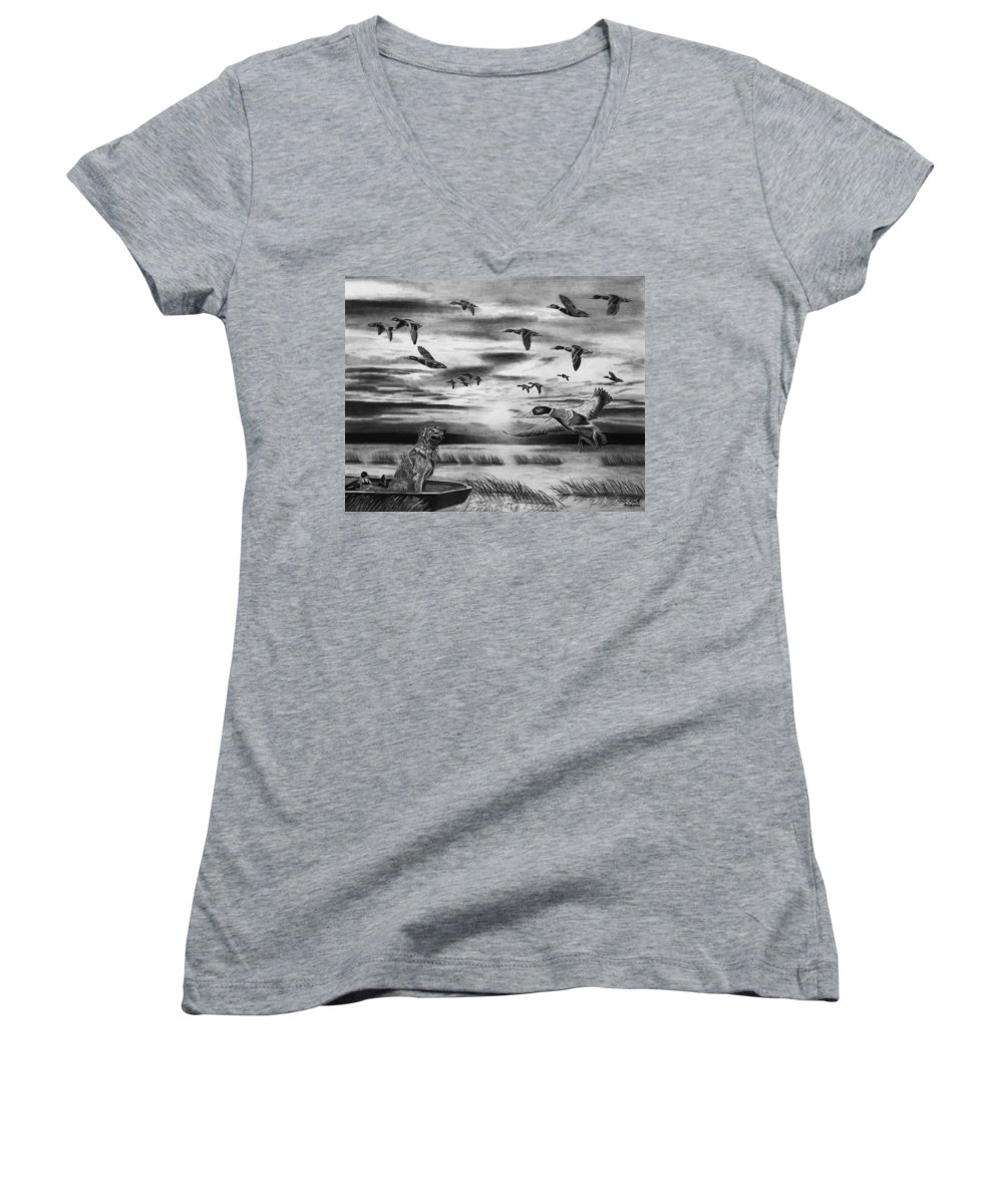 Early Morning Women's V-Neck (Athletic Fit) featuring the drawing Early Morning by Peter Piatt