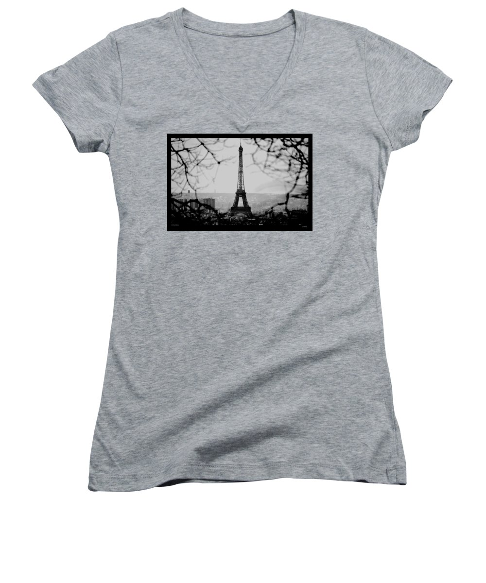 Eiffel Women's V-Neck T-Shirt featuring the photograph Eiffel Eyeful by J Todd