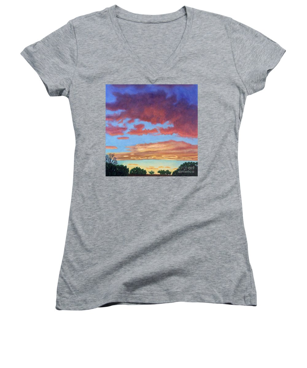 Sunset Women's V-Neck (Athletic Fit) featuring the painting El Dorado Sunset by Brian Commerford