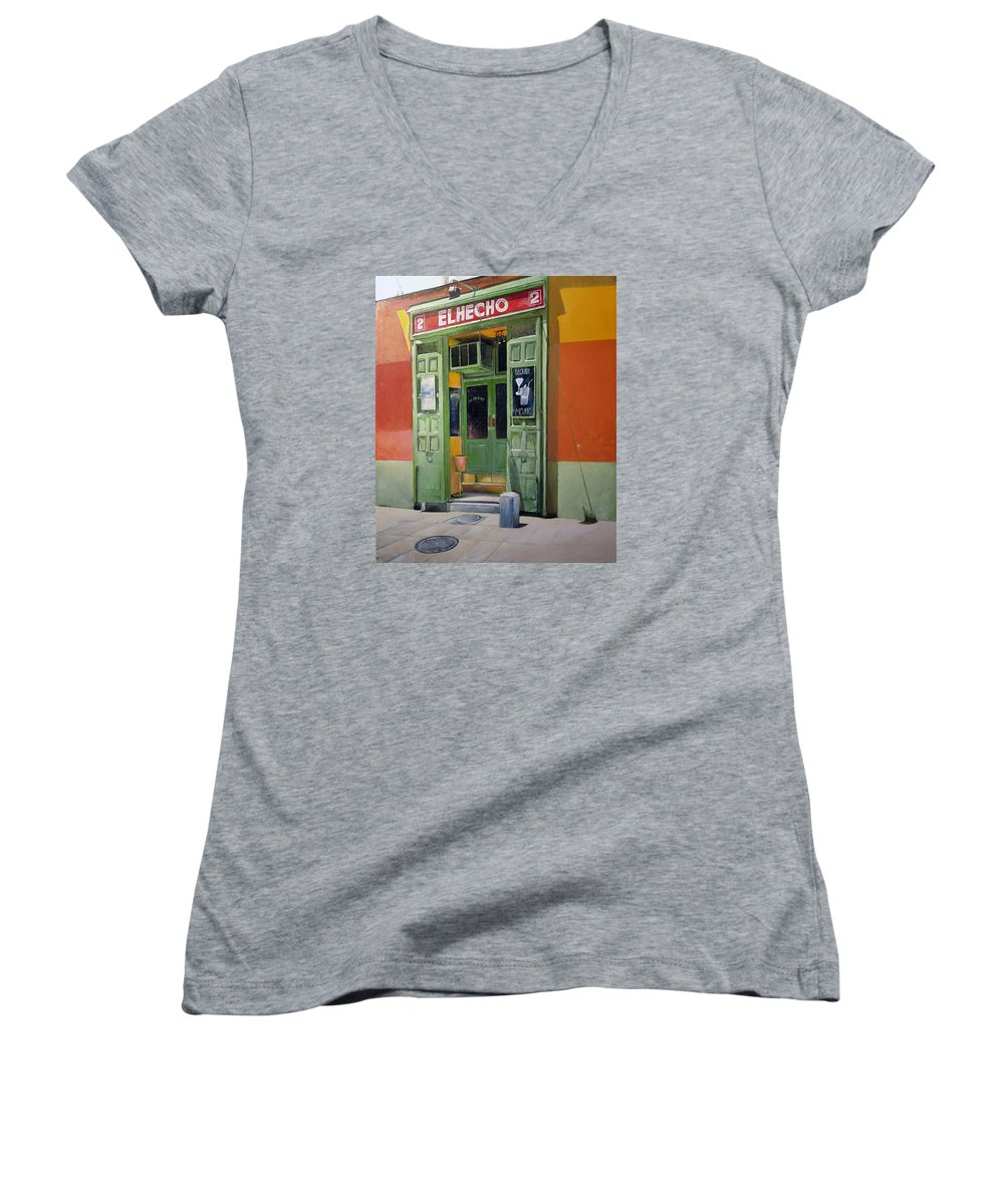 Hecho Women's V-Neck T-Shirt featuring the painting El Hecho Pub by Tomas Castano