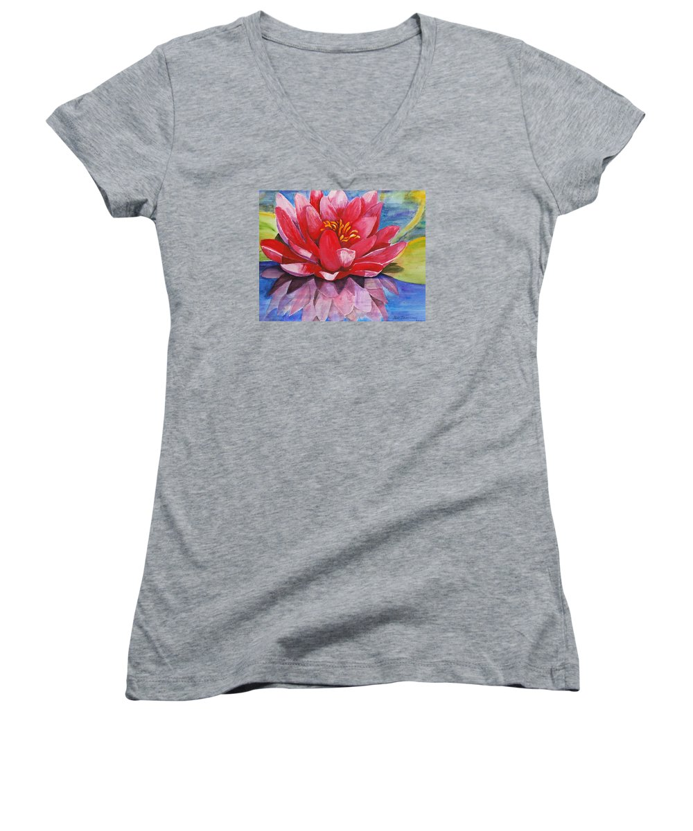 Lily Women's V-Neck T-Shirt featuring the painting Ela Lily by Jun Jamosmos