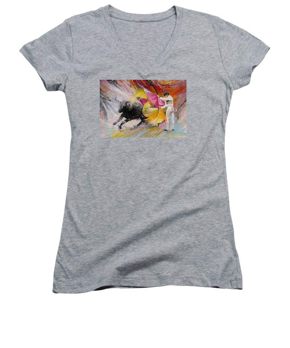Animals Women's V-Neck T-Shirt featuring the painting Elegance by Miki De Goodaboom