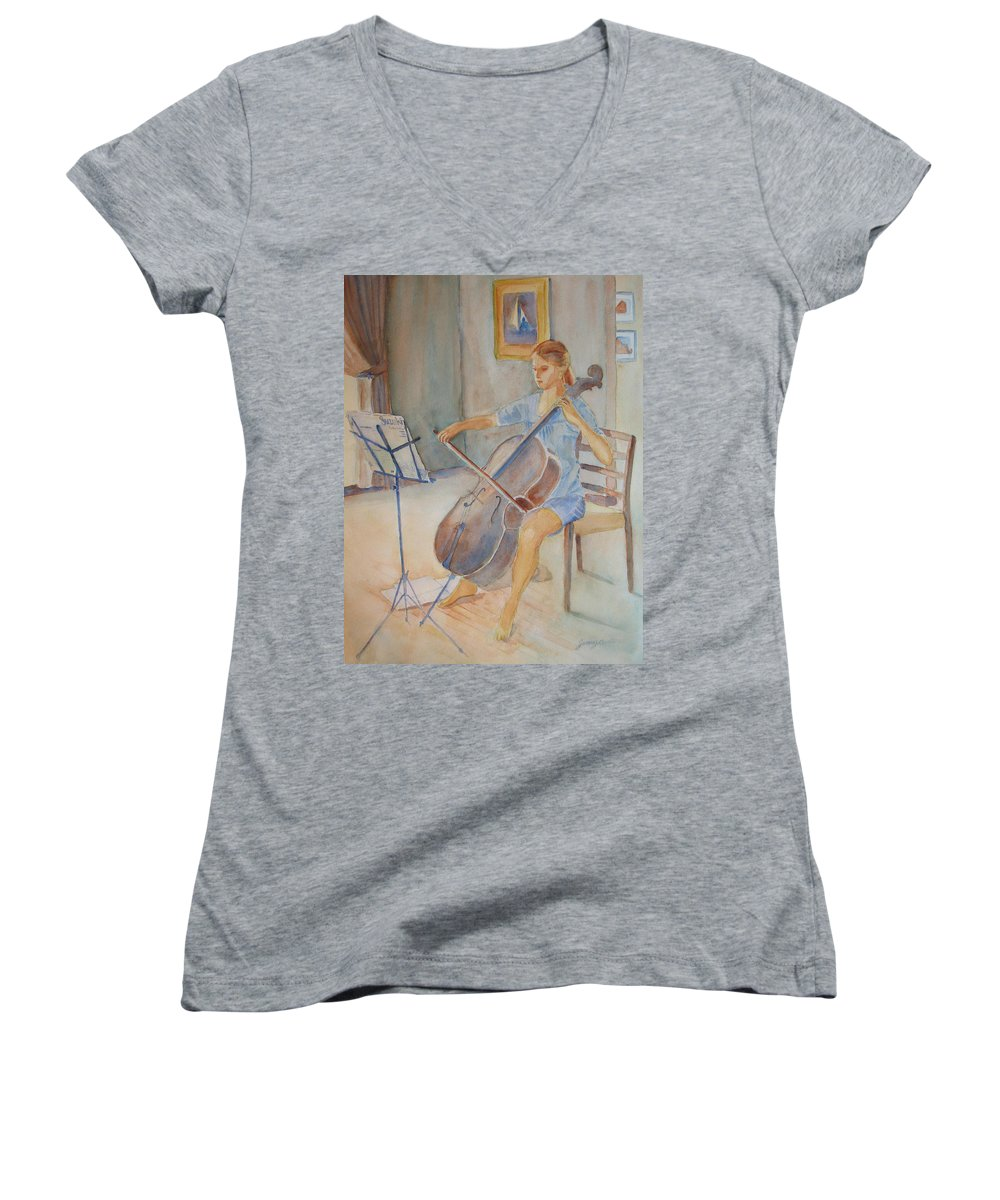 Girls Women's V-Neck T-Shirt featuring the painting Emma And Clifford by Jenny Armitage