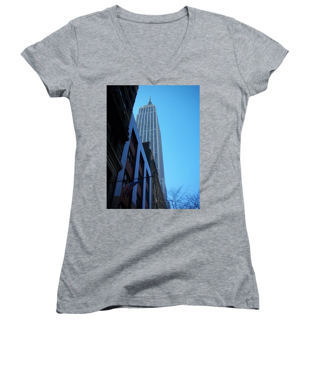 Emoire State Building Women's V-Neck T-Shirt featuring the photograph Empire State 1 by Anita Burgermeister