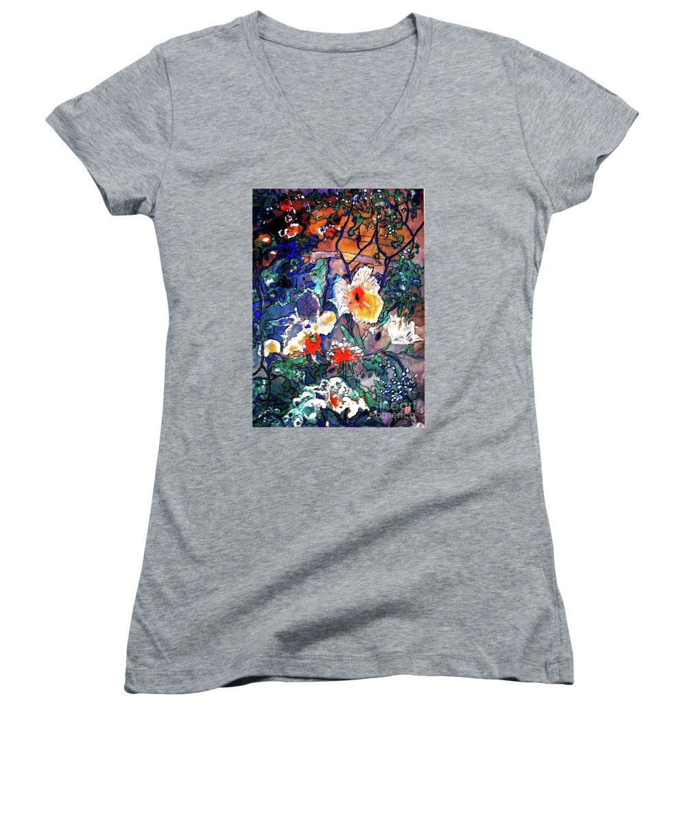 Landscape Women's V-Neck T-Shirt featuring the painting Enchanted Garden by Norma Boeckler