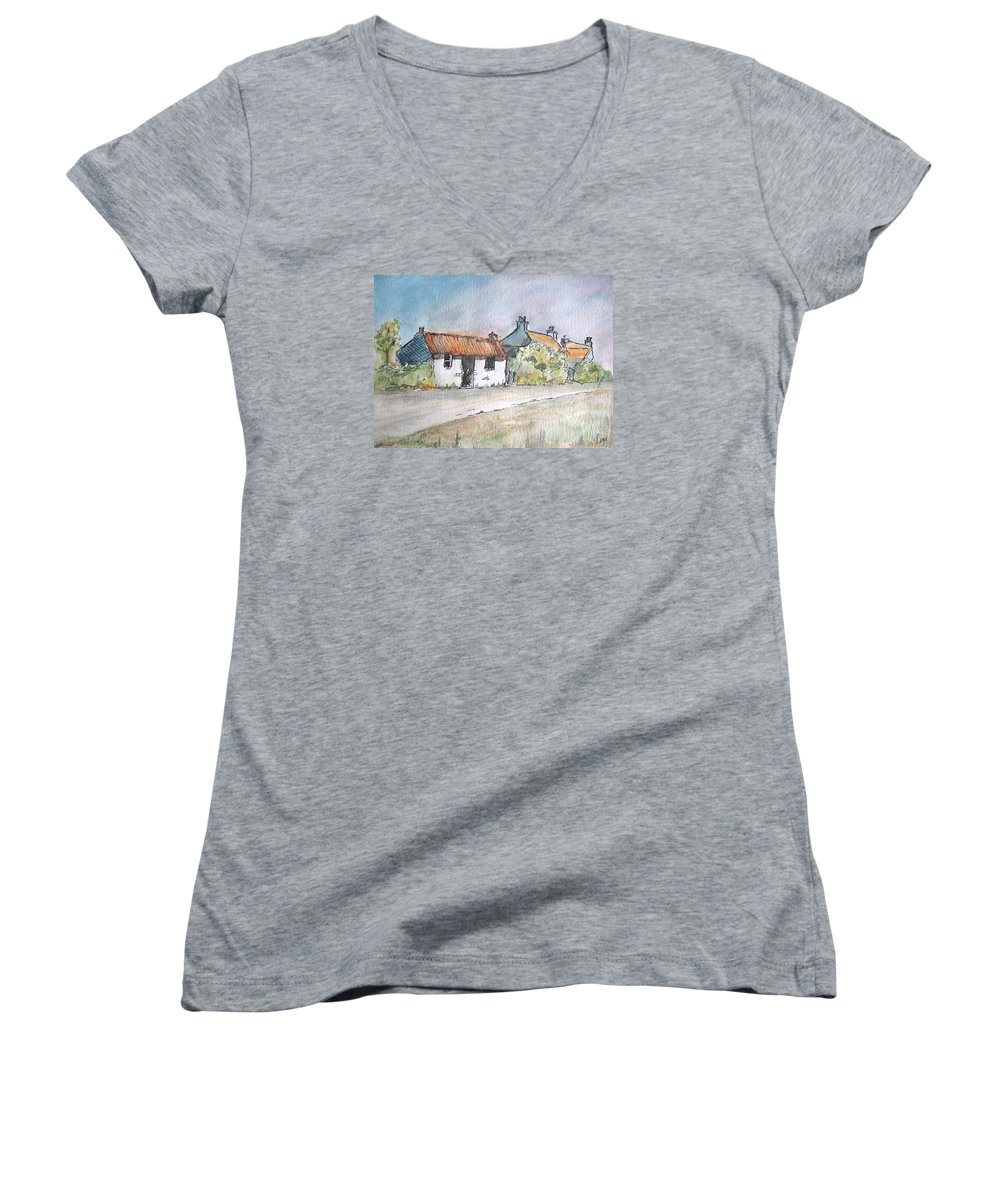 Old Women's V-Neck featuring the painting English Cottage by Lisa Cini