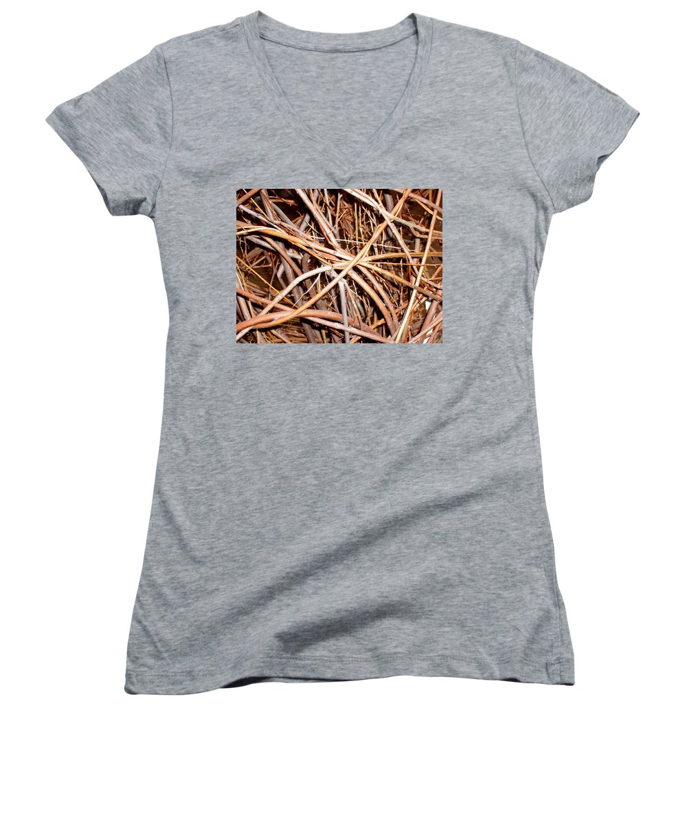 Vines Women's V-Neck T-Shirt featuring the photograph Entangled by Wayne Potrafka