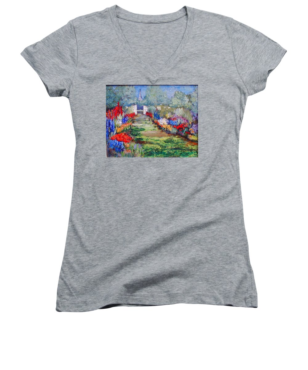 Landscape Women's V-Neck (Athletic Fit) featuring the painting Enter His Gates by Gail Kirtz
