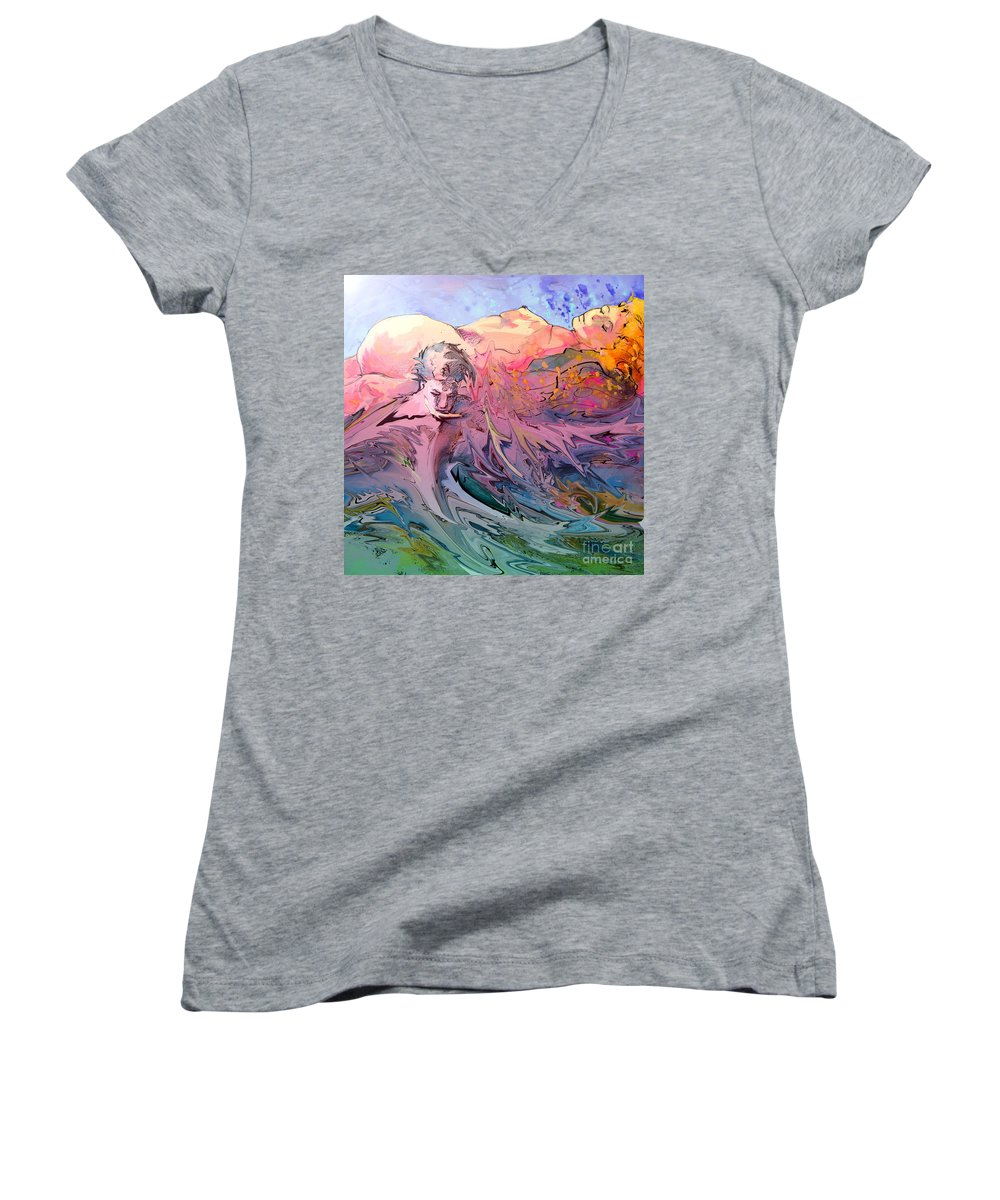 Miki Women's V-Neck (Athletic Fit) featuring the painting Eroscape 10 by Miki De Goodaboom