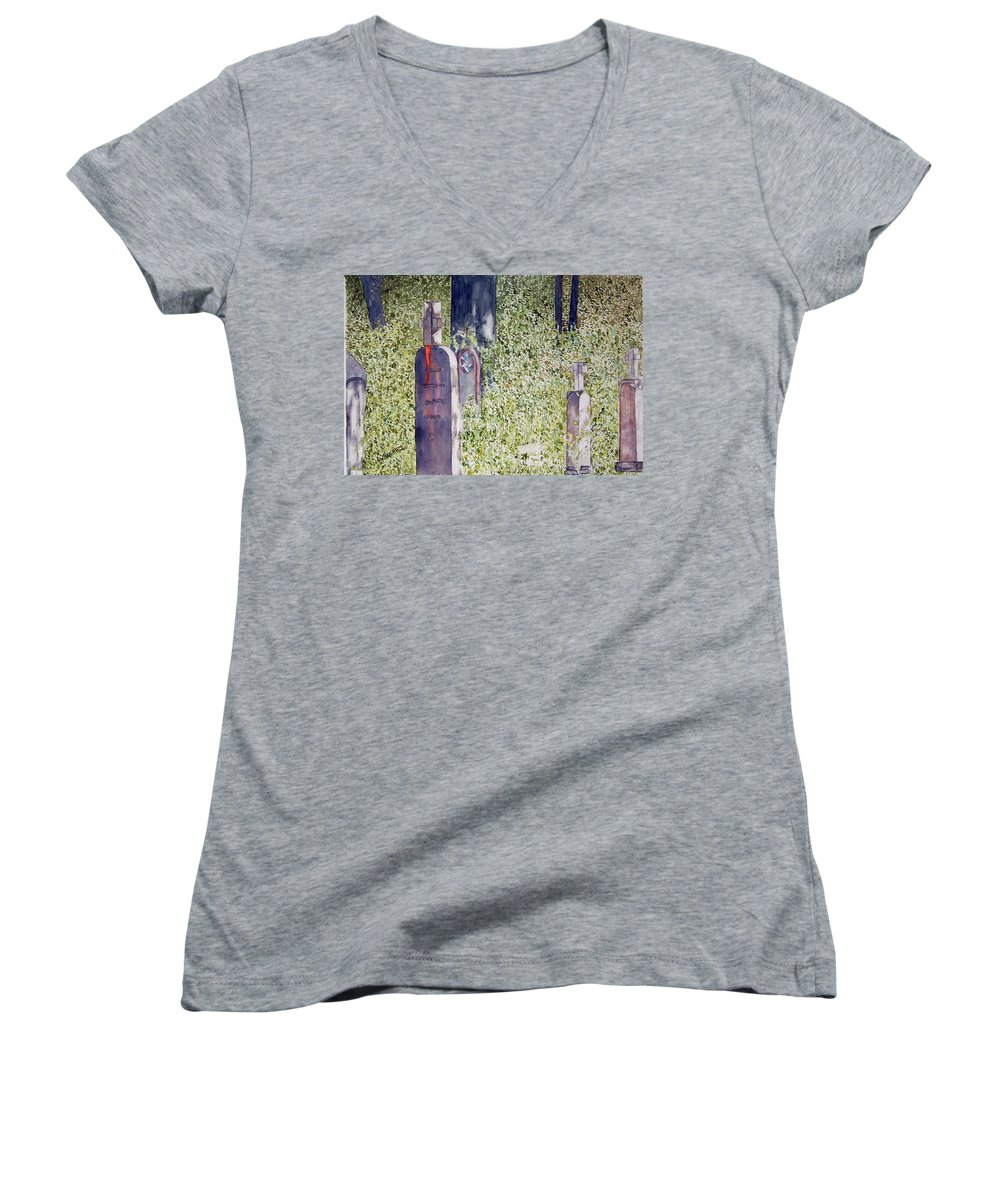 Cemeteries Women's V-Neck T-Shirt featuring the painting Eternity In Hoonah by Larry Wright