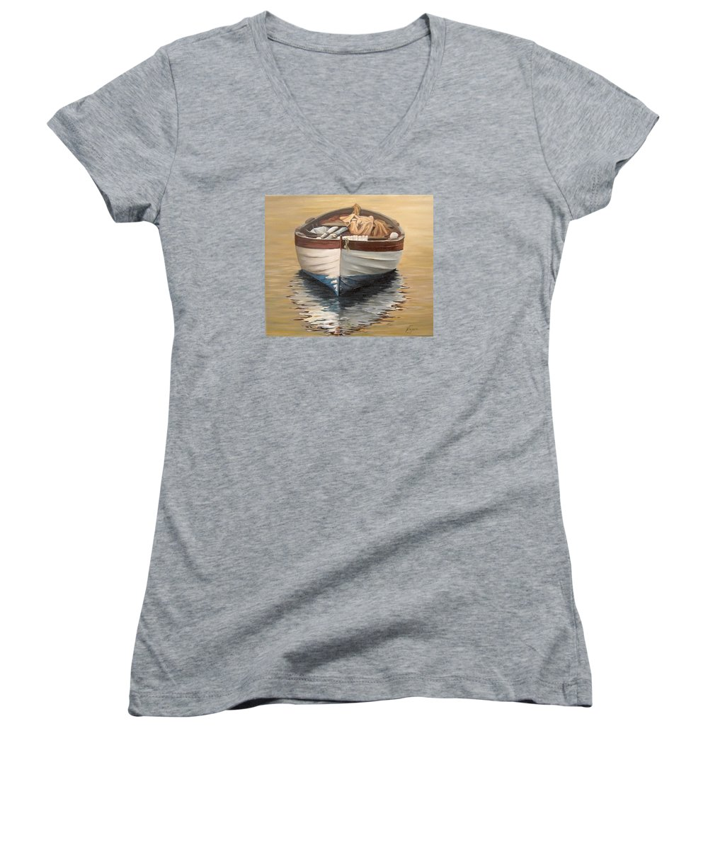 Boats Reflection Seascape Water Women's V-Neck (Athletic Fit) featuring the painting Evening Boat by Natalia Tejera