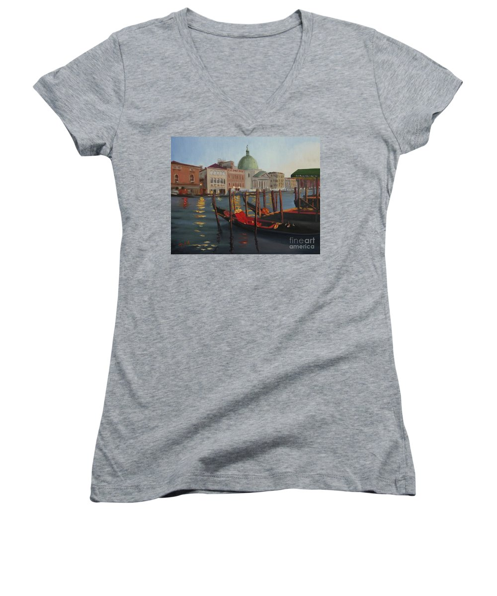 Venice Women's V-Neck (Athletic Fit) featuring the painting Evening In Venice by Laura Toth