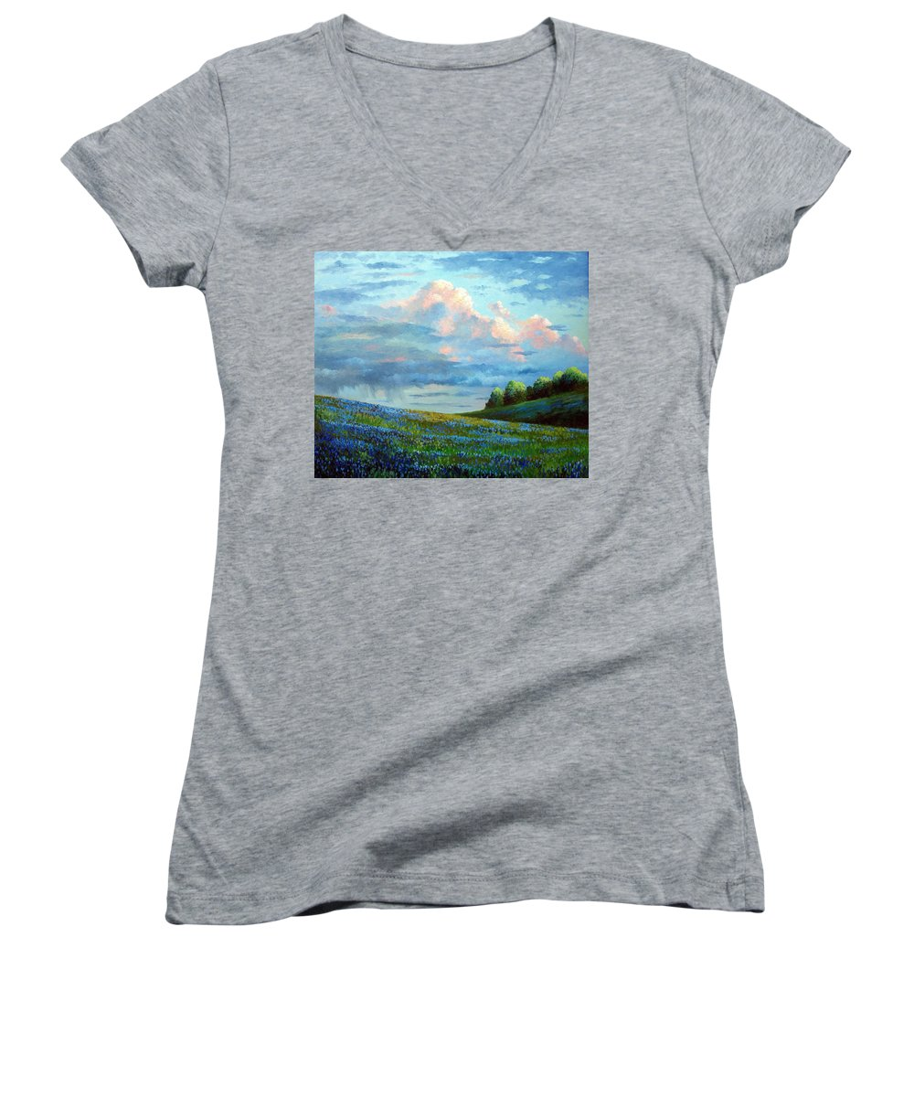 Landscape Women's V-Neck (Athletic Fit) featuring the painting Evening Rain by David G Paul